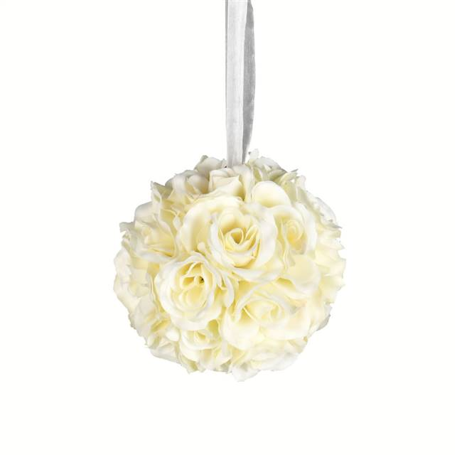 "6"" White Rose Ball Pk/2"