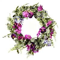 "22"" Mixed Purple Floral Wreath"