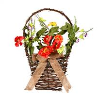 "20"" Coral/Orange/Green Flower Basket"