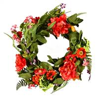 "22"" Coral/Orange/Green Floral Wreath"