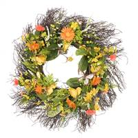 "24"" Yellow Mixed Floral Wreath"
