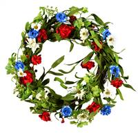 "22"" Red/White/Blue Floral Wreath"