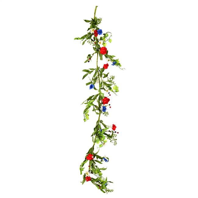 "60""  Red/White/Blue Floral Garland"