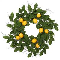 "24"" Green Salal Leaf/Yellow Lemon Wreath"