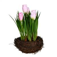 "9"" Pink Tulips in Bird Nest 2/Pk"