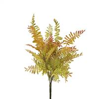 "14"" Wood Fern Bush X 6-Lt.Green/Red"