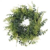 "18"" Buckler Fern & Grass Wreath-Green"