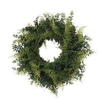 "24"" Buckler Fern & Grass Wreath-Green"