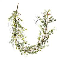 "66"" White Cotton Mixed Greenery Garland"