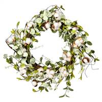 "24"" White Cotton Mixed Greenery Wreath"