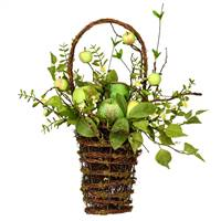 "21"" Green Apples Mixed Twig Hang Basket"