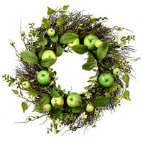 "22"" Green Apples Mixed Twig Wreath"