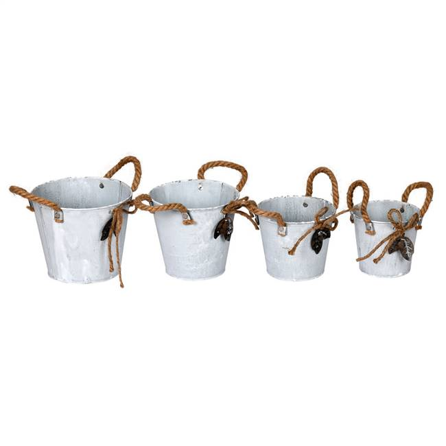 "4-6"" Tin Containers Burlap Handle Set/4"
