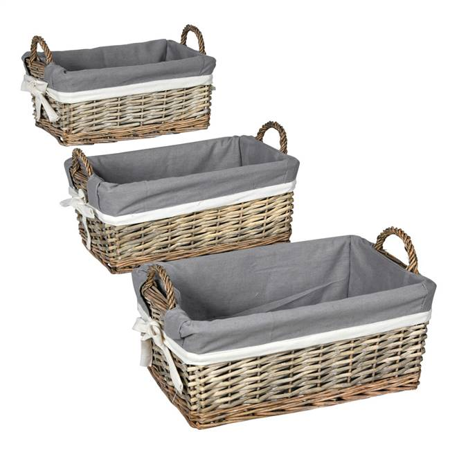 "6-7.5"" Willow Basket Fabric Liner Set/3"