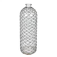 "16"" Glass Vase with Black Chicken Wire"