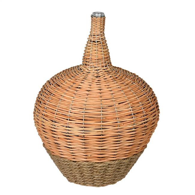 "21"" Glass Jar with Woven Willow Sleeve"