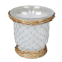 "7.3"" Frosted Glass Vase Chicken Wire"