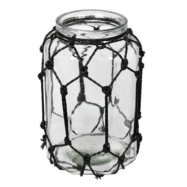 "10.3"" Glass Jar with Black Rope"