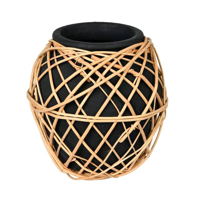 "9"" Charcoal Terracotta Vase with Wicker"