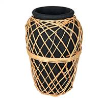 "15"" Charcoal Terracotta Vase with Wicker"