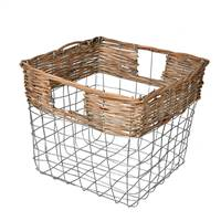 "10.5"" Square Wire Basket w/ Woven Bamboo"