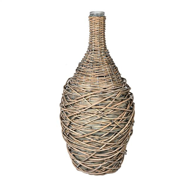 "18"" Glass Bottle in Woven Wicker"