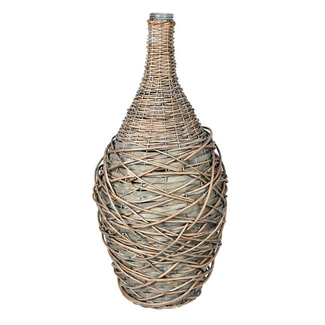 "22"" Glass Bottle in Woven Willow Sleeve"