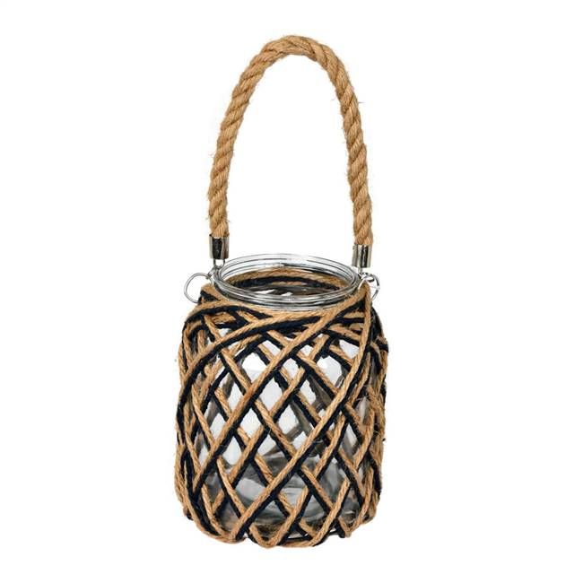 "8.5"" Glass Jar in Woven Jute Handle"