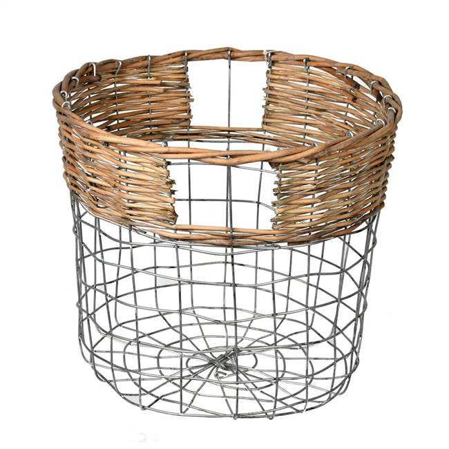 "10.5"" Round Wire Basket w/ Woven Bamboo"