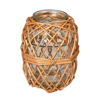 8.25 Glass Jar in Woven Wicker