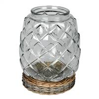 "10.3"" Glass Jar with Wicker Base"