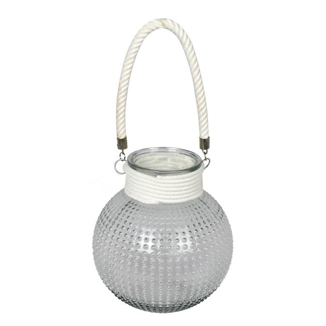 "10"" Glass Jar with White Rope Handle"