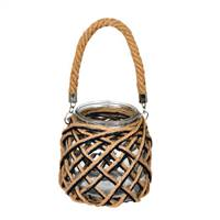 "7"" Glass Jar in Woven Jute Handle"