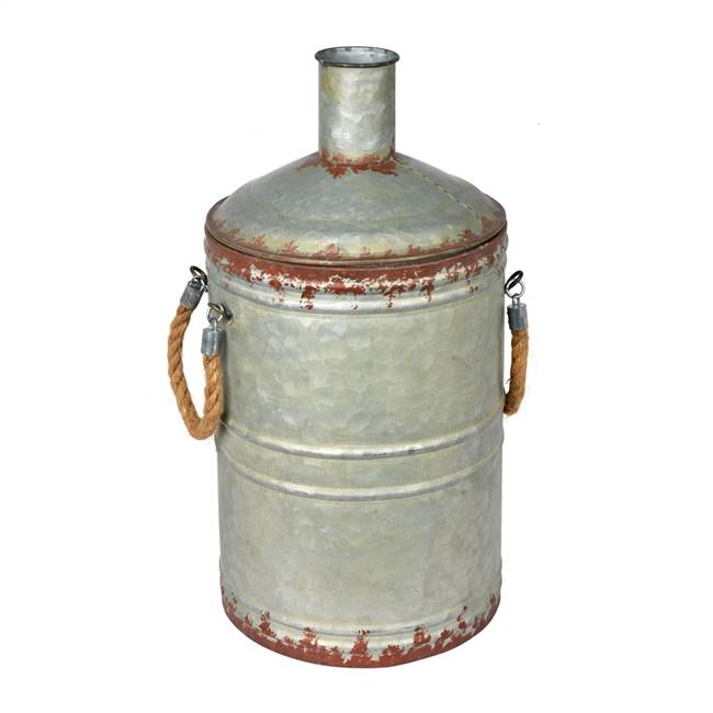 "19.5"" Rustic Metal Container with Handle"