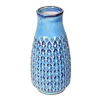 "11"" Powder Blue Mini Texture Ceramic Pot"