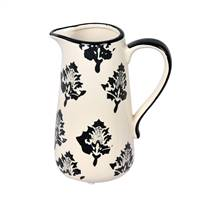 "6.5"" White/Black Leaf Print Ceramic Jar"