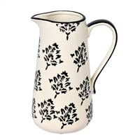 "8.5"" White/Black Leaf Print Ceramic Jar"