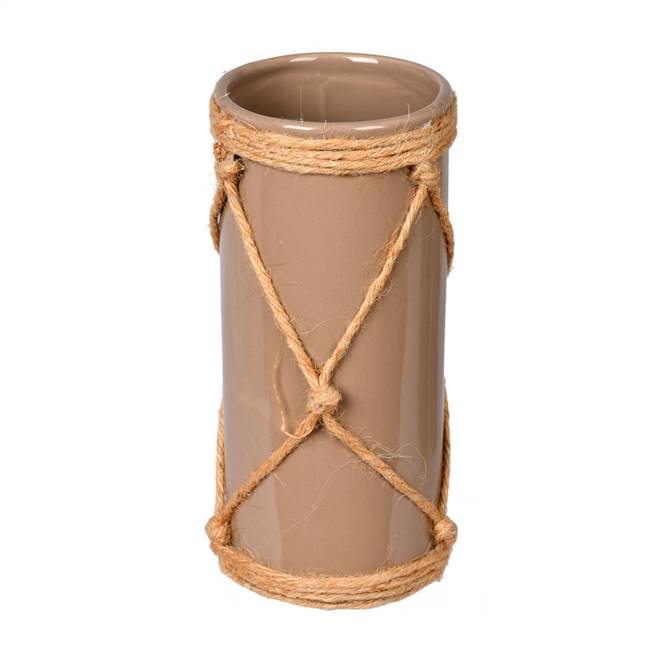 "8"" Sandstone Ceramic Vase in Jute Rope"