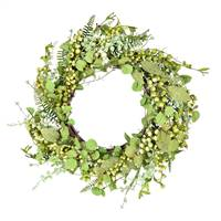 "24"" Green Fern Berry Eucalyptus Wreath"