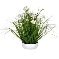 "16.5"" Cream Potted Cosmos Grass"