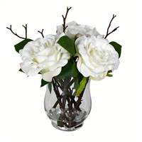 "10"" White Rose In Glass Vase"
