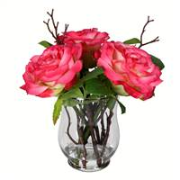 "10"" Dark Pink Rose In Glass Vase"