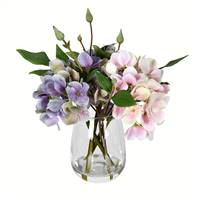 "8"" Light Pnk/Purp Hydrangea In Glass Pot"
