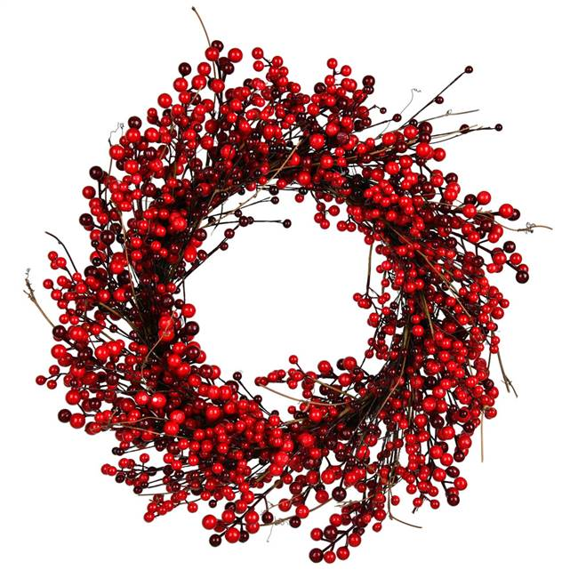 "24"" Red Berry Wreath Outdoor"