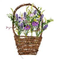 "16""x10"" Purple Lilac Wild Flower Basket"