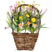 "16""x10"" Pink/Yellow Wild Flowers Basket"