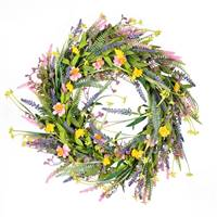 "24"" Pink/Yellow Wild Flowers Wreath"