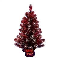 "2' x 16"" Dark Red Tinsel Tree 75Tips"