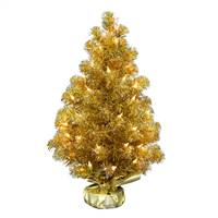 "2' x 16"" Gold Tinsel Tree Dura-Lit 50CL"