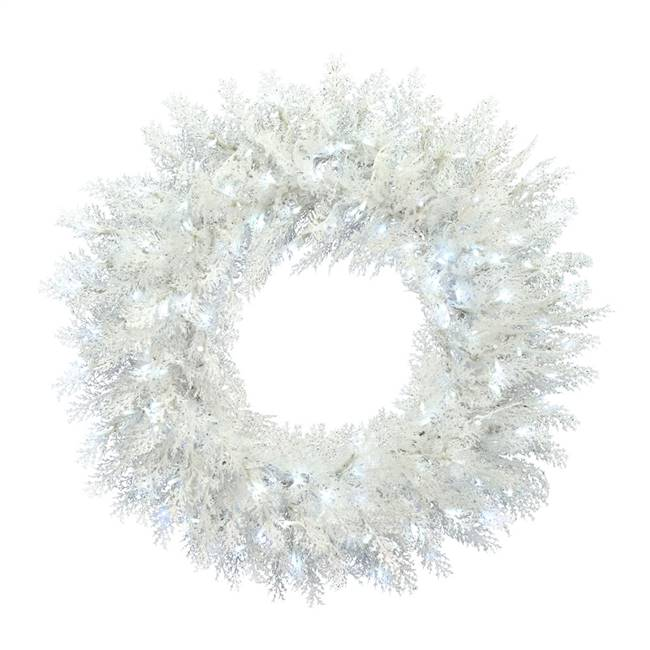 "48"" Flkd Cedar Wreath 3mm Twinkle 600PW"
